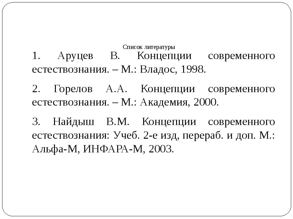 Список литературы 1. Аруцев В. Концепции современного естествознания. – М.: В...
