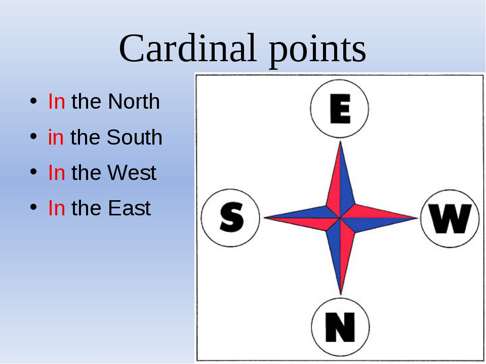 Cardinal points In the North in the South In the West In the East