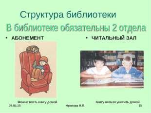 * Фролова Н.П. * Структура библиотеки АБОНЕМЕНТ Можно взять книгу домой ЧИТАЛ