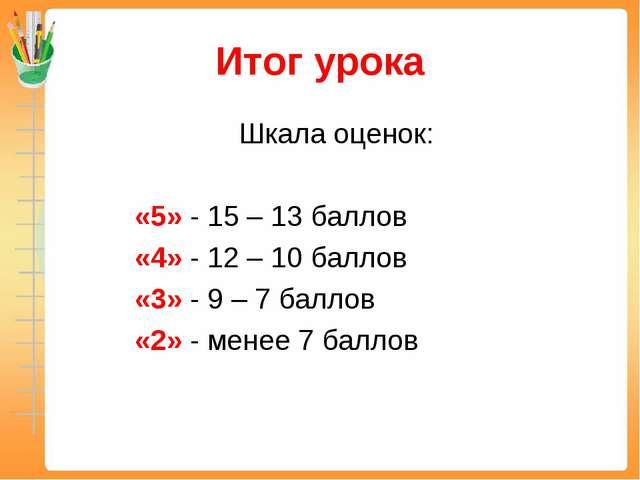 Итог урока Шкала оценок: «5» - 15 – 13 баллов «4» - 12 – 10 баллов «3» - 9...