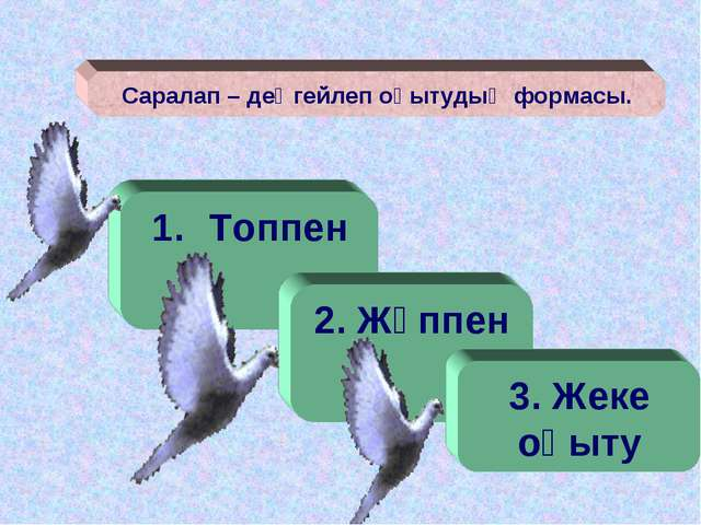 Саралап – деңгейлеп оқытудың формасы. Топпен 2. Жұппен 3. Жеке оқыту