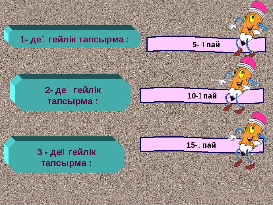 1- деңгейлік тапсырма : 5- ұпай 2- деңгейлік тапсырма : 10-ұпай 3 - деңгейлік...