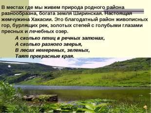 В местах где мы живем природа родного района разнообразна, богата земля Ширин