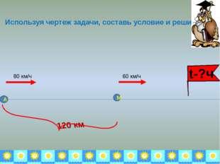 Используя чертеж задачи, составь условие и реши её. 80 км/ч 60 км/ч А М 120 к