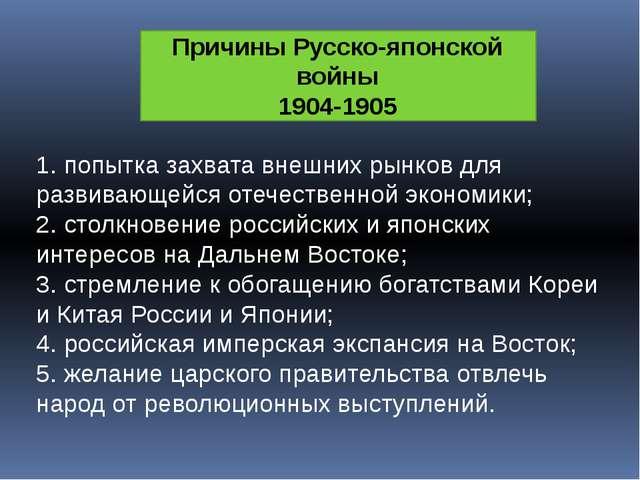 Причины Русско-японской войны 1904-1905 1. попытка захвата внешних рынков для...