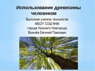 Использование древесины человеком Выполнил учитель технологии МБОУ СОШ №