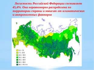 Лесистость Российской Федерации составляет 45,4%. Она неравномерно распределе