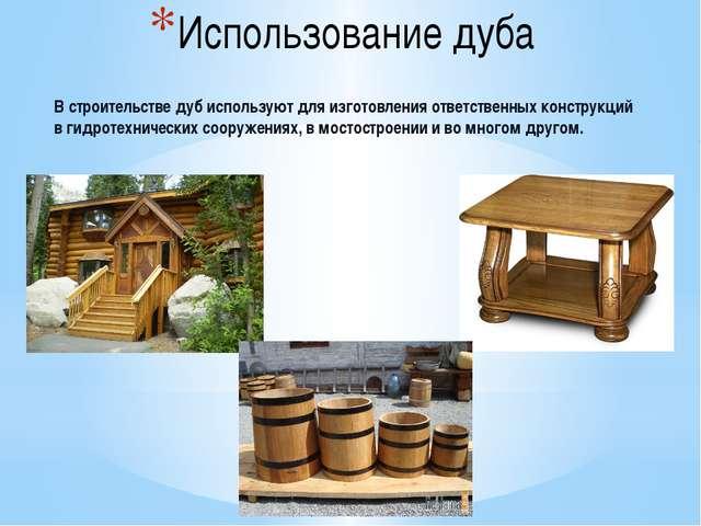 Использование дуба В строительстве дуб используют для изготовления ответствен...