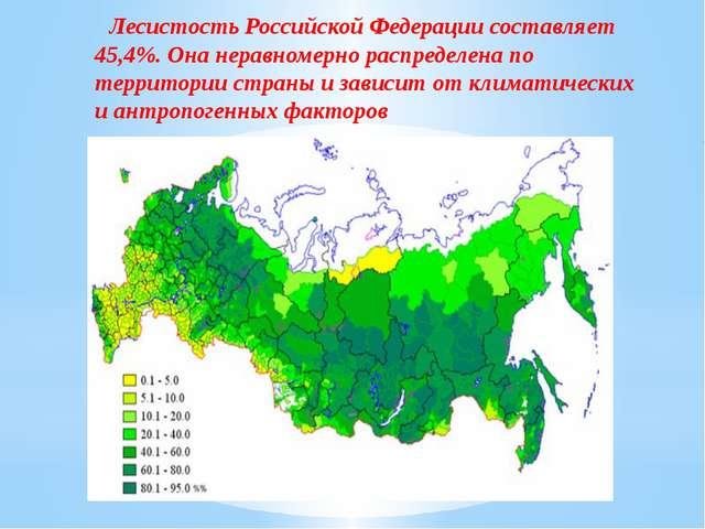 Лесистость Российской Федерации составляет 45,4%. Она неравномерно распределе...