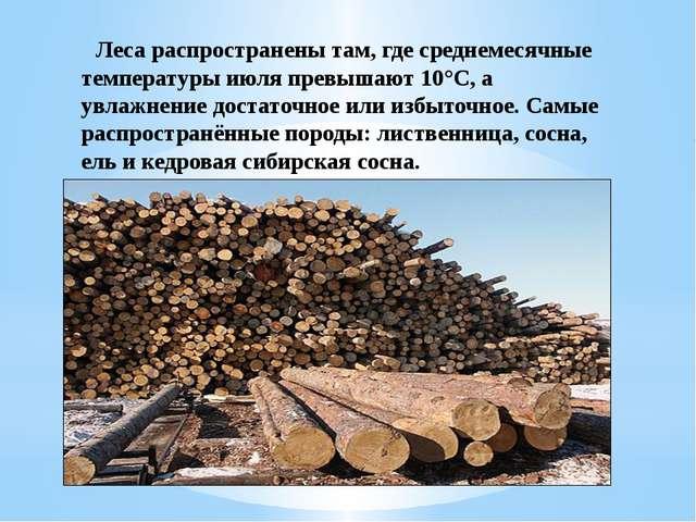 Леса распространены там, где среднемесячные температуры июля превышают 10°С,...