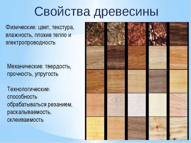 Свойства древесины Физические: цвет, текстура, влажность, плохие тепло и эле...