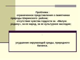 Проблема : ограниченное представления о памятниках природы Ширинского района