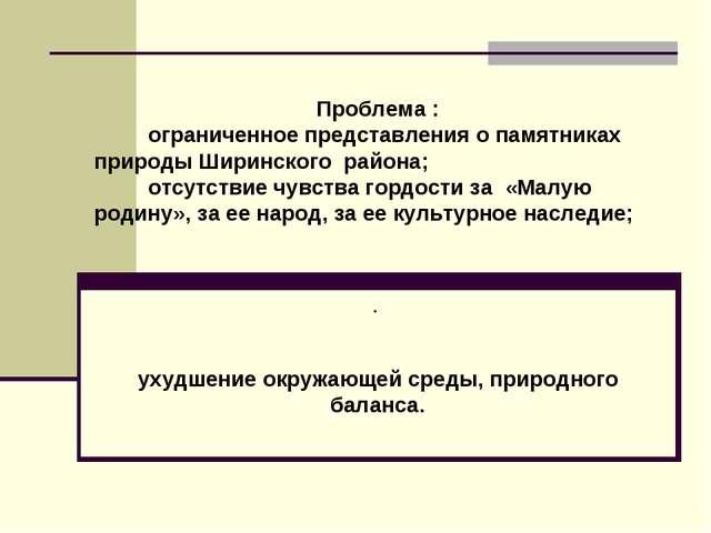Проблема : ограниченное представления о памятниках природы Ширинского района...