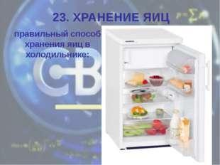 правильный способ хранения яиц в холодильнике: 23. ХРАНЕНИЕ ЯИЦ