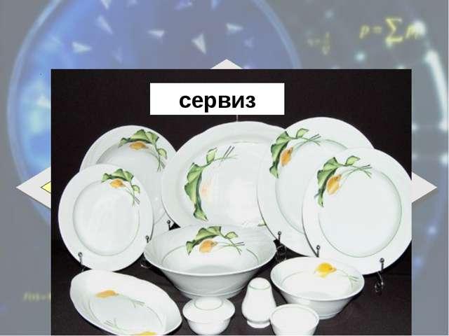 14. Набор столовой или чайной посуды, рассчитанный на определенное количество...