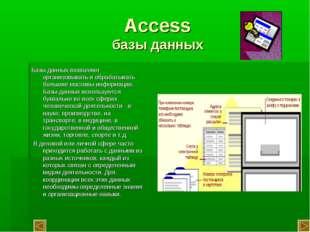 Access базы данных Базы данных позволяют организовывать и обрабатывать больши