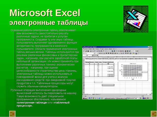 Microsoft Excel электронные таблицы Освоение работы электронных таблиц обеспе...