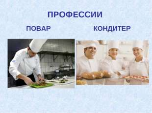 ПРОФЕССИИ ПОВАР КОНДИТЕР
