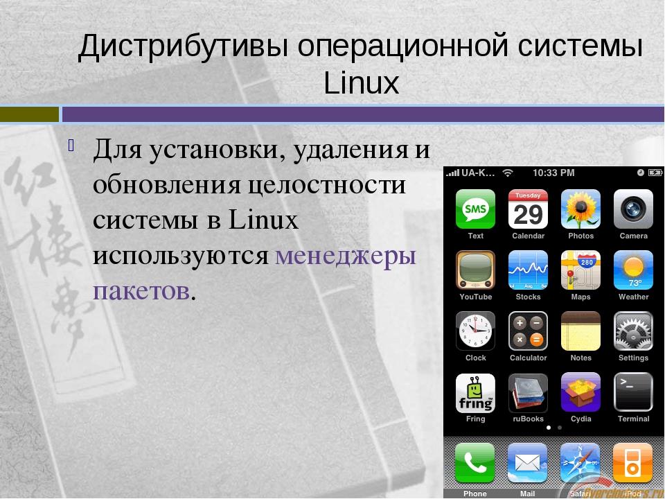 Дистрибутивы операционной системы Linux Для установки, удаления и обновления...