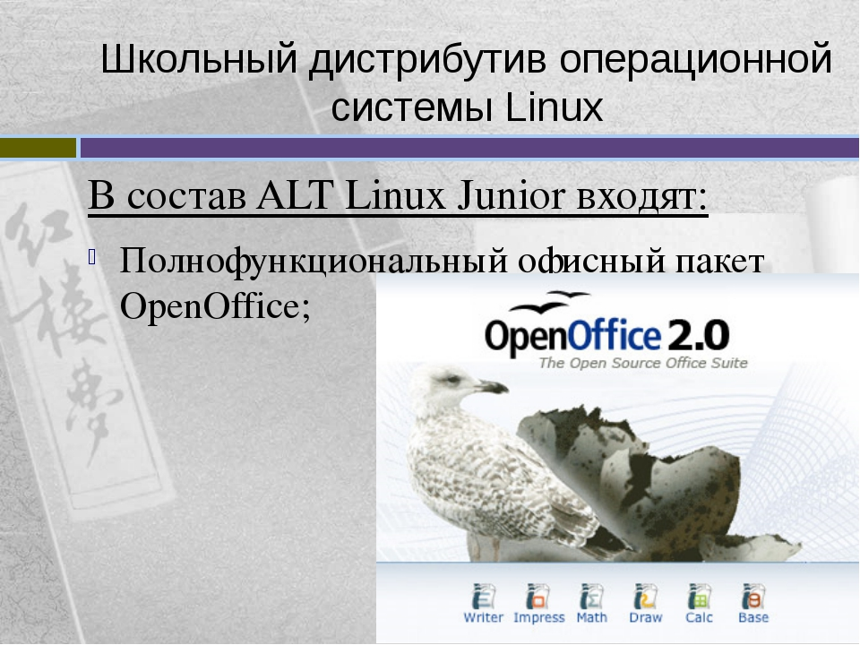 Школьный дистрибутив операционной системы Linux В состав ALT Linux Junior вхо...