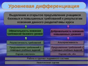 Уровневая дифференциация Обязательность освоения требований базового уровня Д