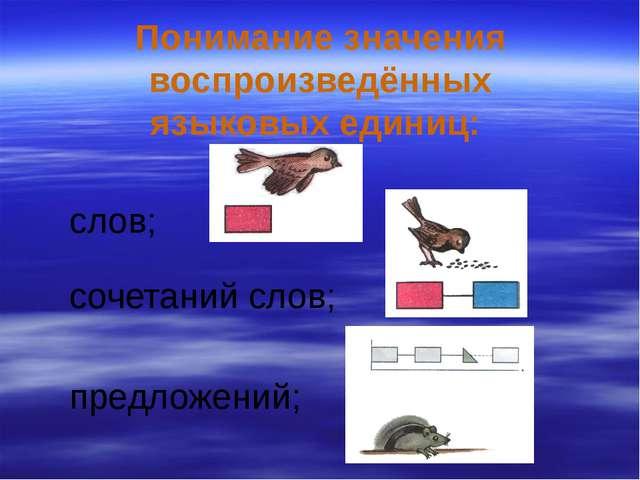 Понимание значения воспроизведённых языковых единиц: слов; сочетаний слов; пр...