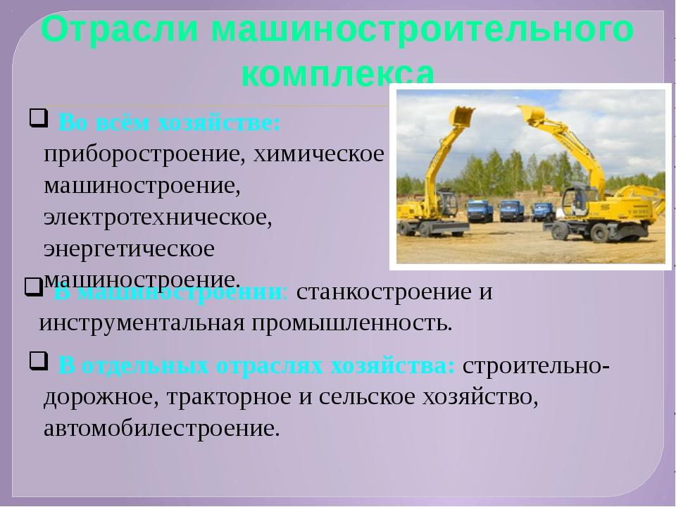 Отрасли машиностроительного комплекса В машиностроении: станкостроение и инст...