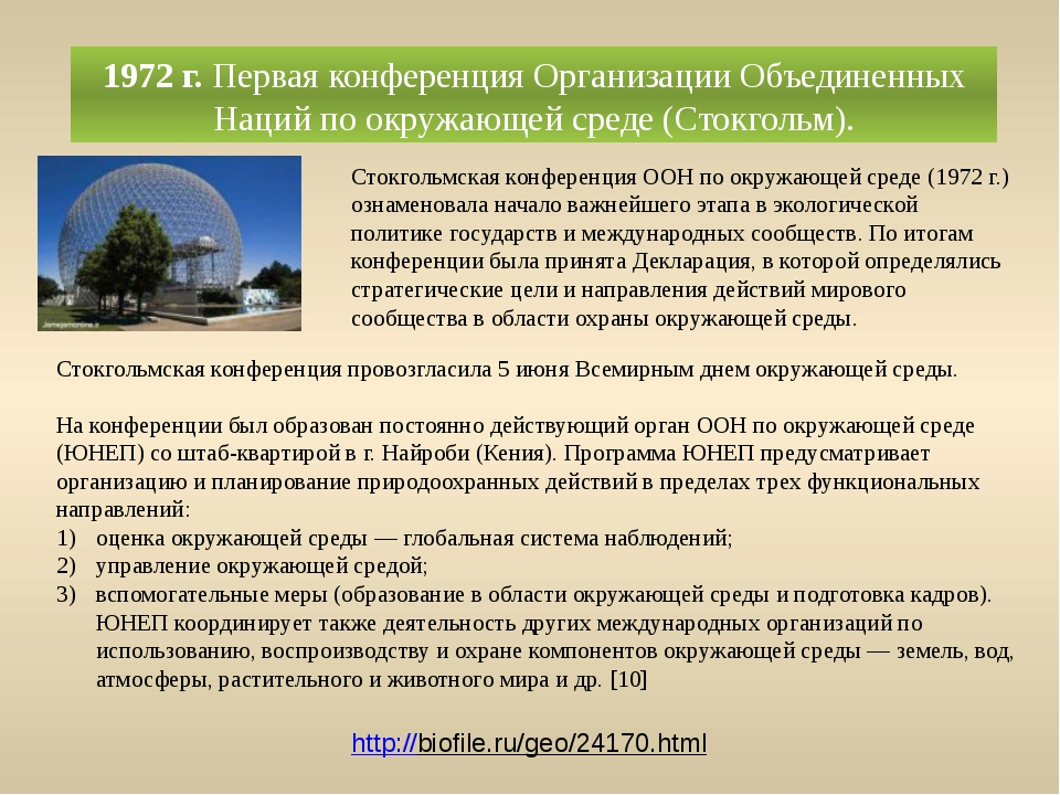 1972 г.Первая конференция Организации Объединенных Наций по окружающей среде...