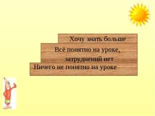 Ничего не понятно на уроке Всё понятно на уроке, затруднений нет Хочу знать