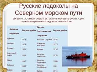 Русские ледоколы на Северном морском пути Их всего 14, самым старым 38, самом