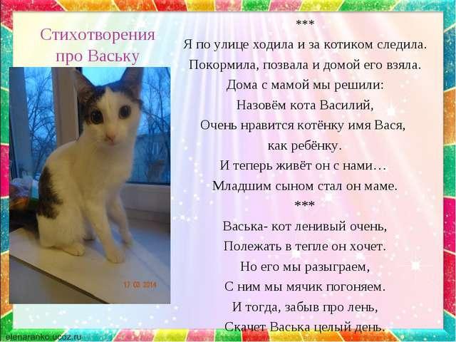 Стихотворения про Ваську *** Я по улице ходила и за котиком следила. Покормил...