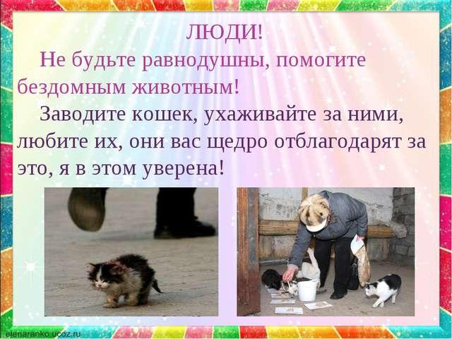 ЛЮДИ! Не будьте равнодушны, помогите бездомным животным! Заводите кошек, уха...