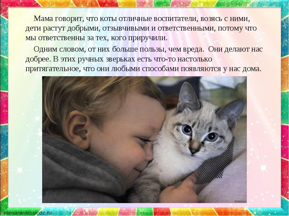 Мама говорит, что коты отличные воспитатели, возясь с ними, дети растут добр...