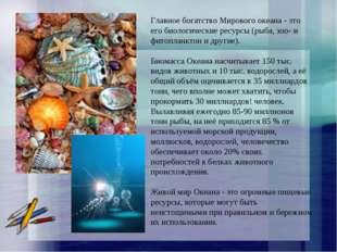Главное богатство Мирового океана - это его биологические ресурсы (рыба, зоо-