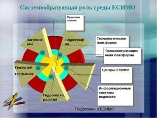 Системообразующая роль среды ЕСИМО Подробнее о ЕСИМО