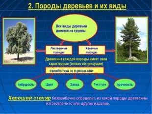 Лиственные породы Хвойные породы 2. Породы деревьев и их виды Все виды деревь