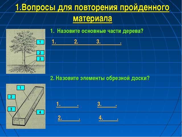 1.Вопросы для повторения пройденного материала 1 2 3 Назовите основные части...