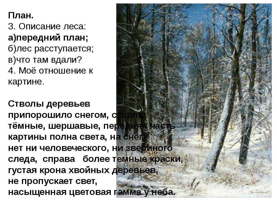 План. 3. Описание леса: а)передний план; б)лес расступается; в)что там вдали?...