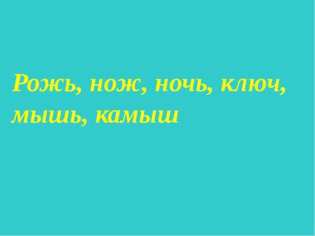 Рожь, нож, ночь, ключ, мышь, камыш