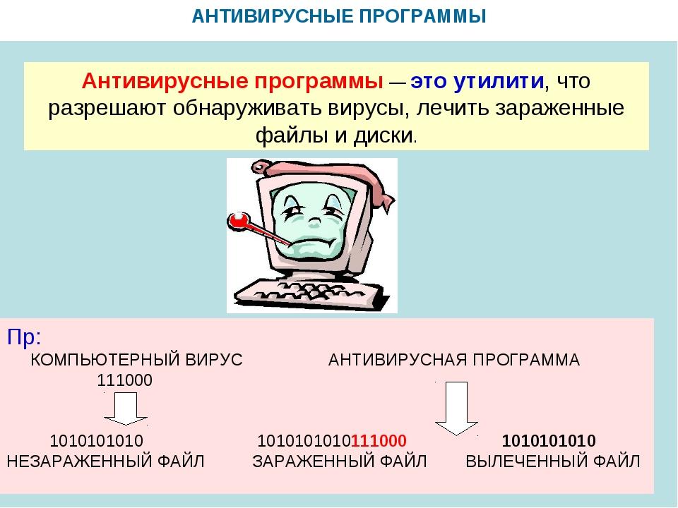 Антивирусные программы Антивирусные программы— это утилити, что разрешают о...