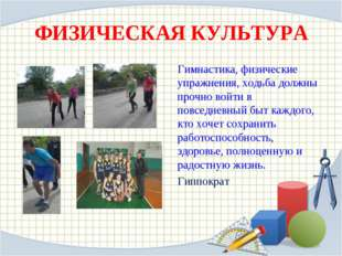 ФИЗИЧЕСКАЯ КУЛЬТУРА Гимнастика, физические упражнения, ходьба должны прочно в