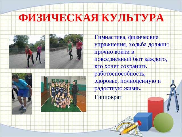 ФИЗИЧЕСКАЯ КУЛЬТУРА Гимнастика, физические упражнения, ходьба должны прочно в...