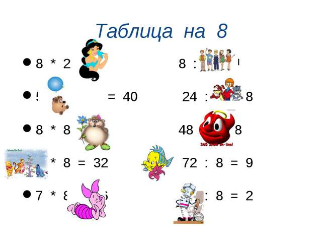 Таблица на 8 8 * 2 = 16 8 : 8 = 1 5 * 8 = 40 24 : 3 = 8 8 * 8 = 64 48 : 6= 8...