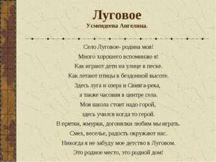Луговое Усмендеева Ангелина. Село Луговое- родина моя! Много хорошего вспомин