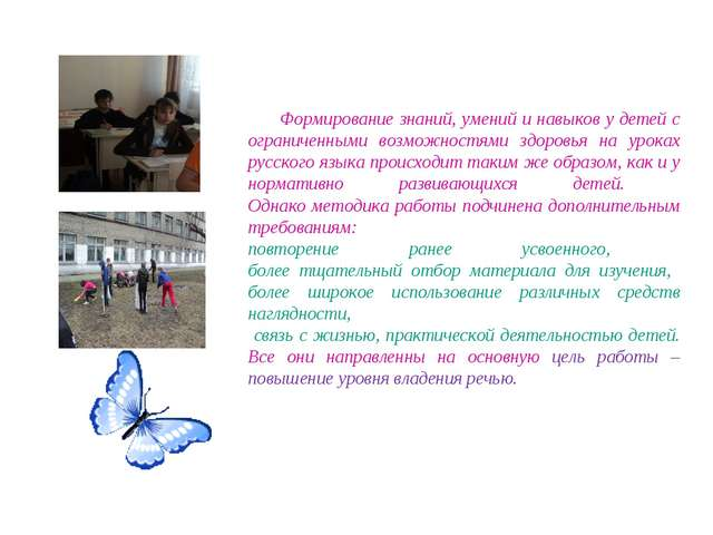 Формирование знаний, умений и навыков у детей с ограниченными возможностями з...