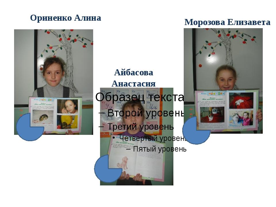 Ориненко Алина Айбасова Анастасия Морозова Елизавета
