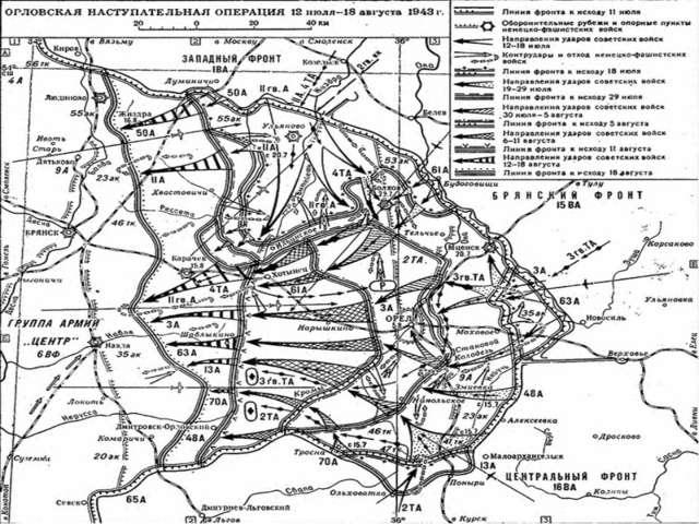 Замысел Орловской операции сводился к тому, чтобы концентрическими удар...