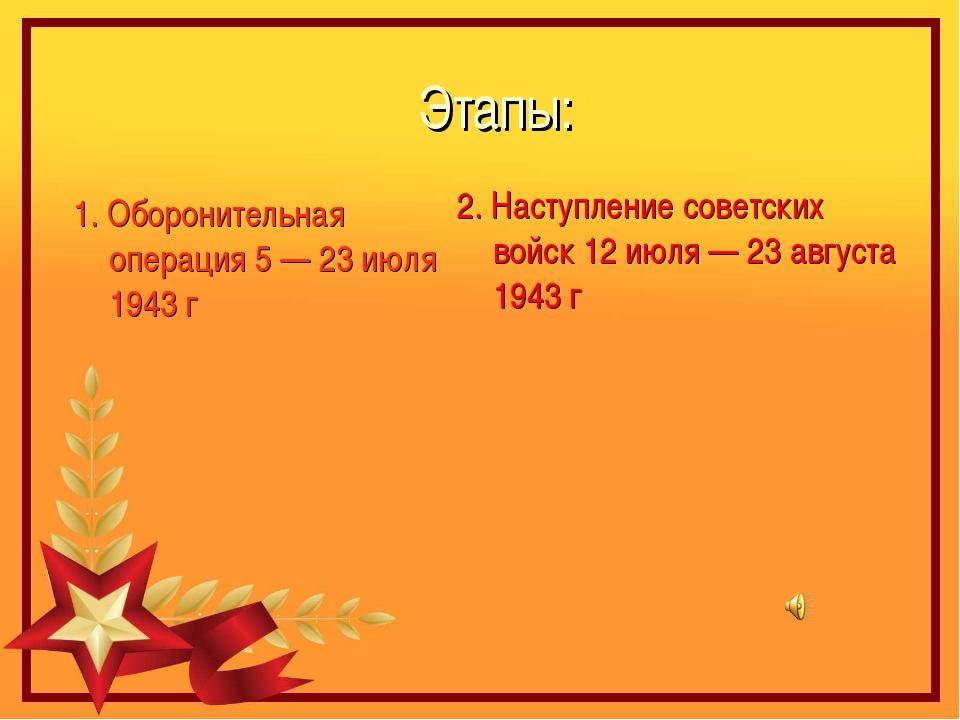 Этапы: 1. Оборонительная операция 5 — 23 июля 1943 г 2. Наступление советских...