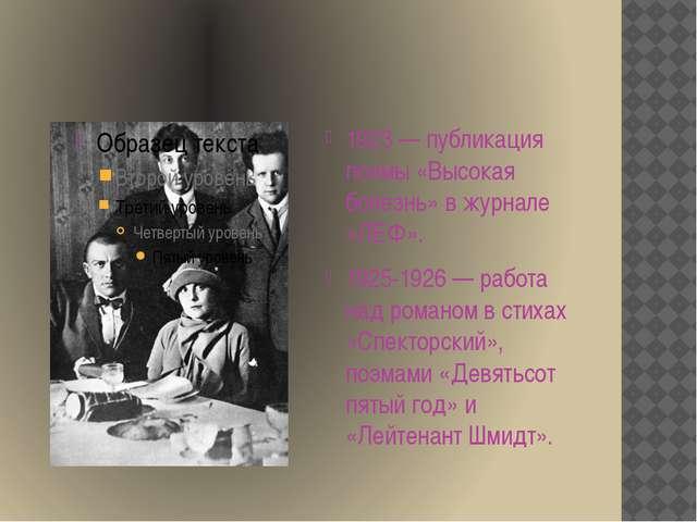 1923 — публикация поэмы «Высокая болезнь» в журнале «ЛЕФ». 1925-1926 — работ...