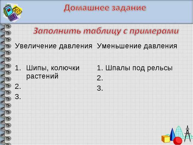 Увеличение давления Уменьшение давления Шипы, колючки растений 2. 3. 1. Шпа...